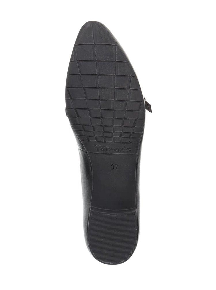 Černé kožené baleríny s tenkým páskem Tamaris