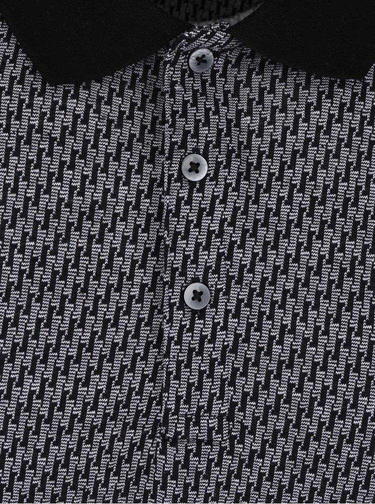 Šedé vzorované polo triko Burton Menswear London
