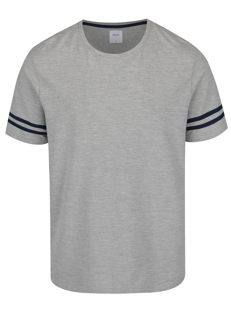 Tricou gri melanj Burton Menswear London cu detaliu pe mâneci