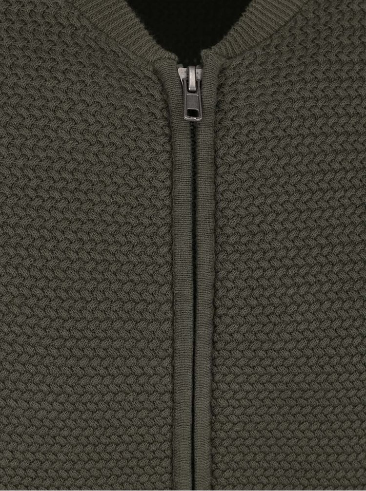 Cardigan kaki Burton Menswear London din bumbac cu guler Mao