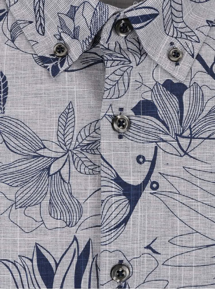 Cămașă gri & albastru Burton Menswear London din bumbac cu mâneci scurte și model