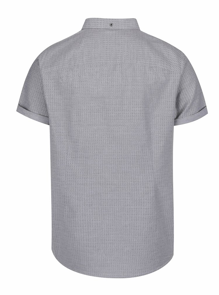 Camasa gri Burton Menswear London din bumbac cu maneci scurte si model discret