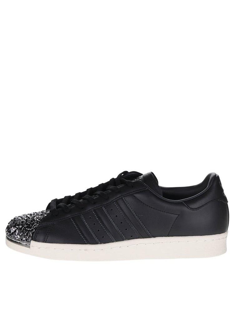 Černé dámské  kožené tenisky s třpytivou špičkou adidas Originals Superstar