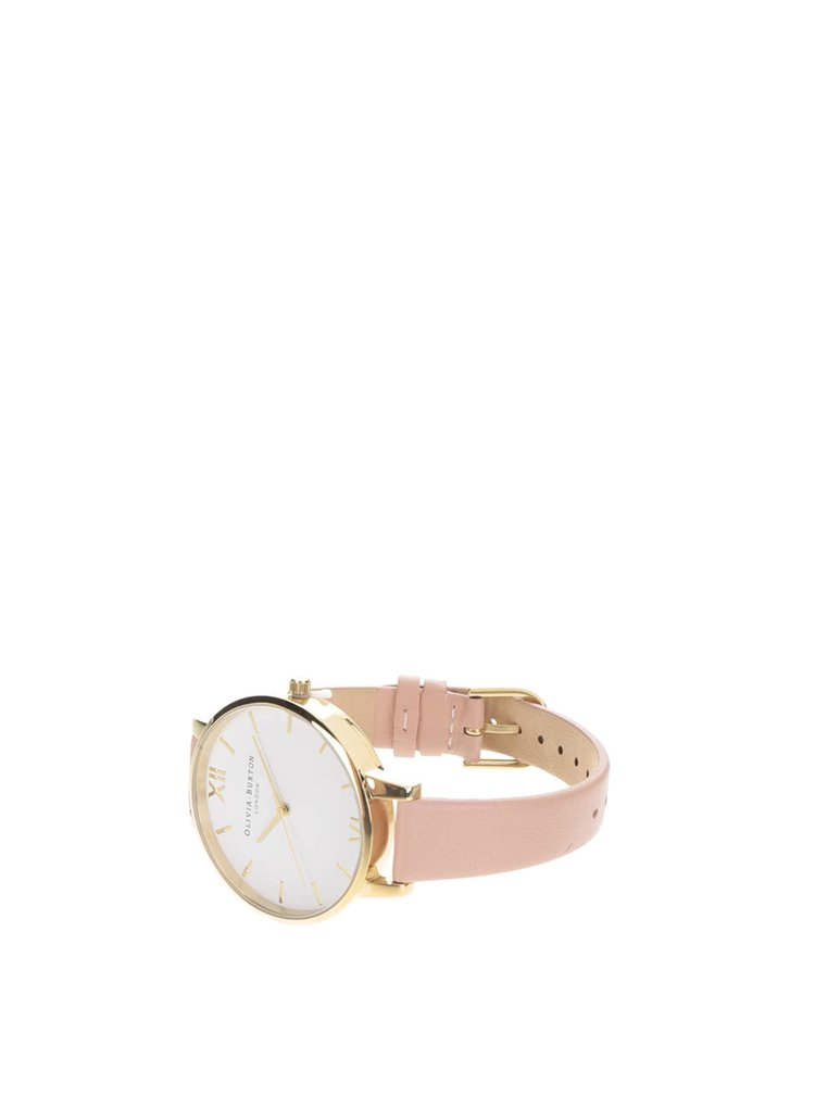 Hodinky ve zlaté barvě s růžovým páskem Olivia Burton