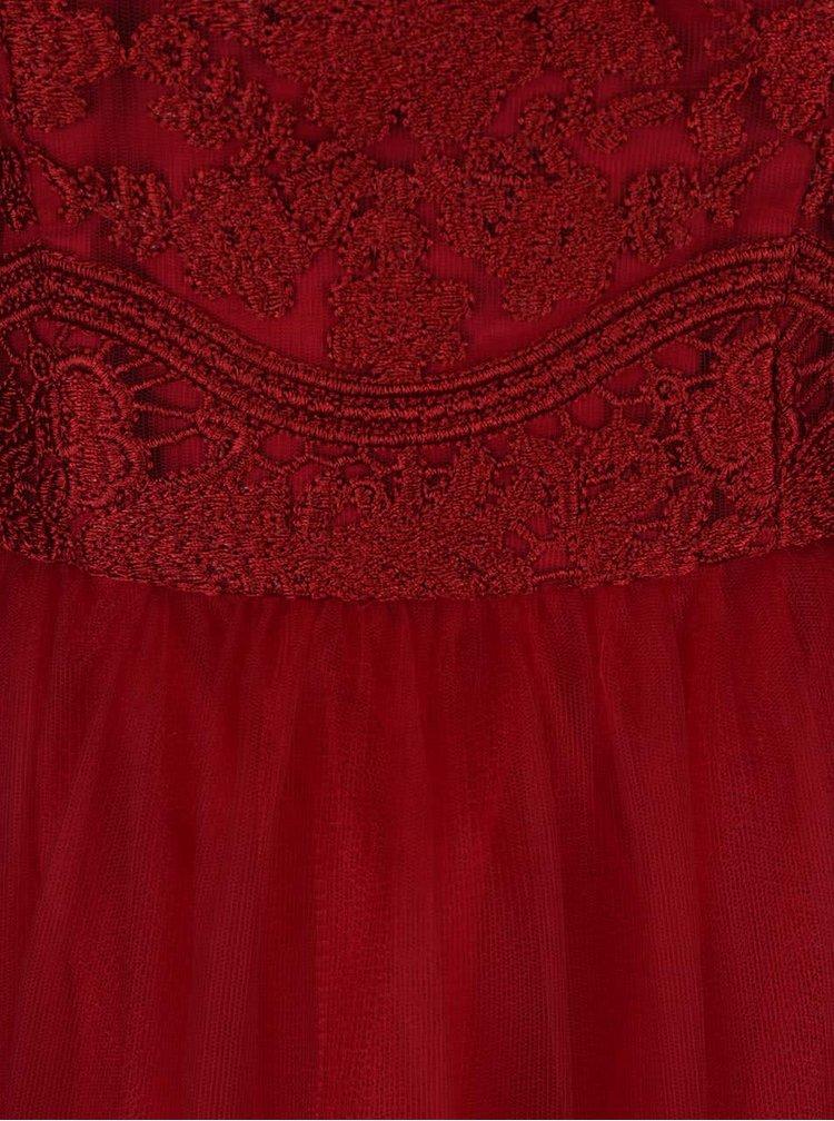 Červené krajkové šaty bez rukávů Chi Chi London Leona