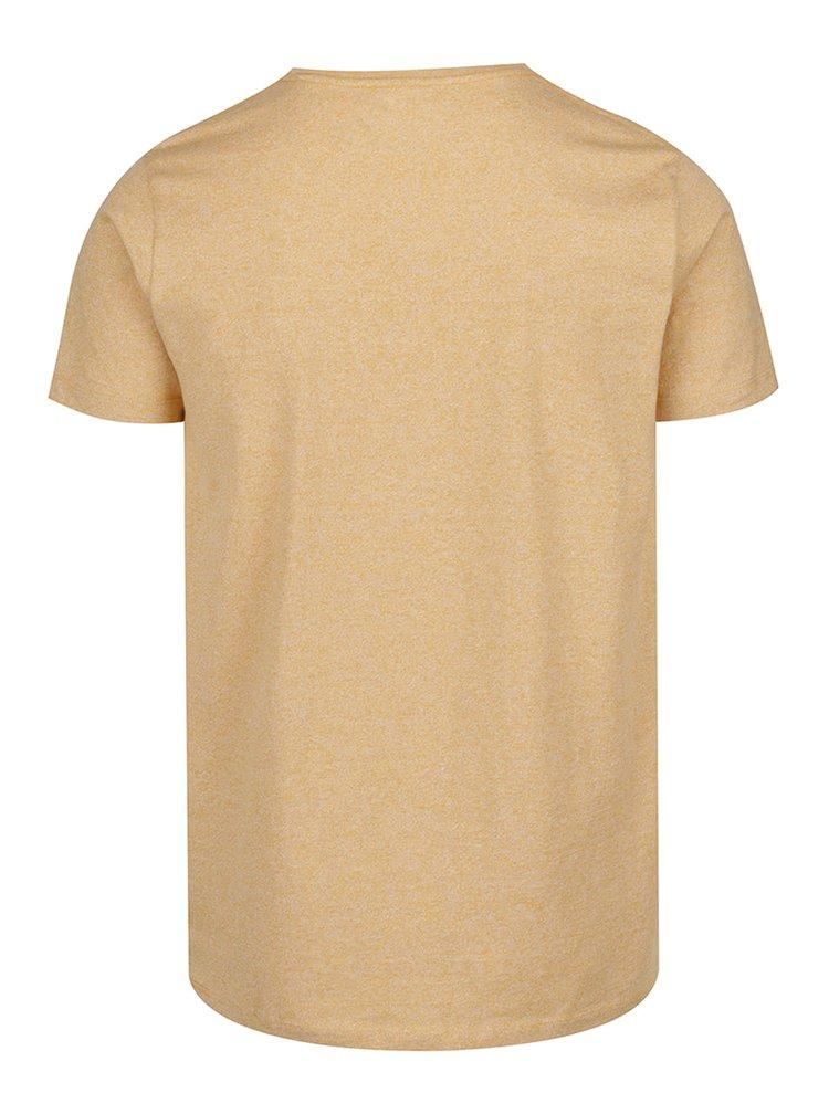 Žluté žíhané basic triko s krátkými rukávy Lindbergh