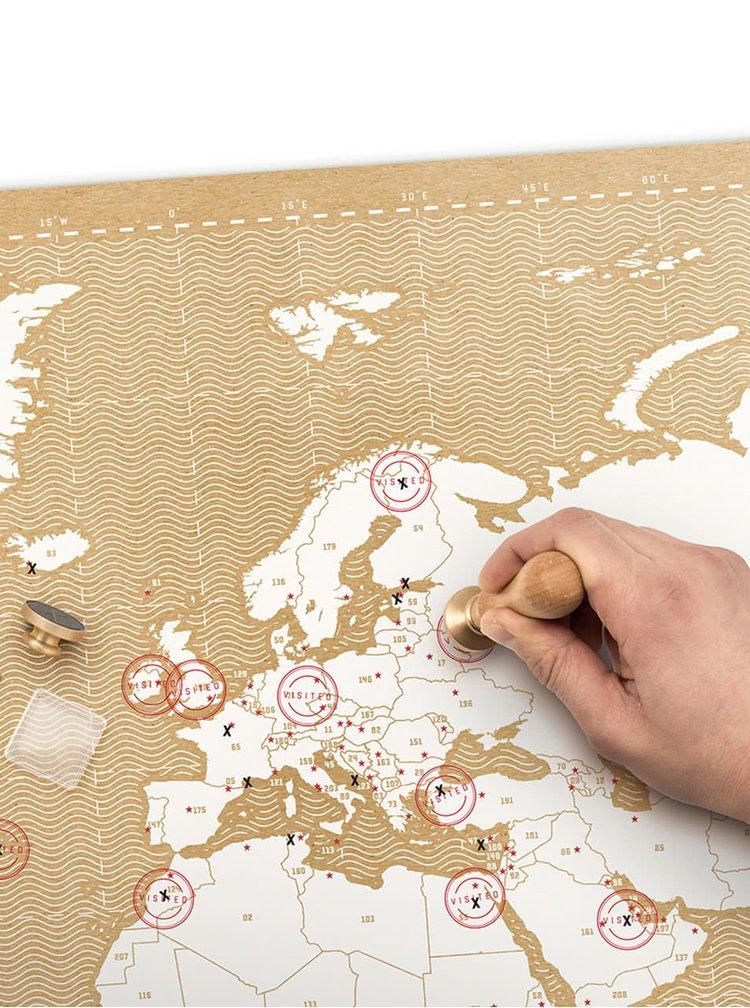 Velká nástěnná mapa s razítky Luckies