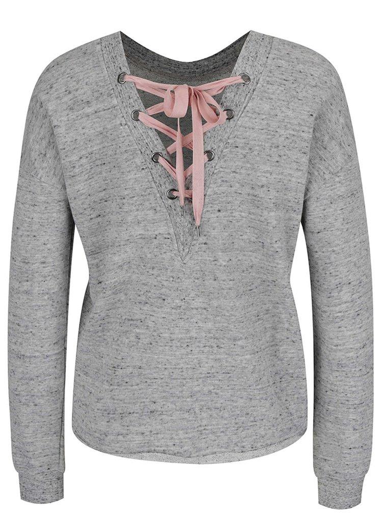 Bluză gri TALLY WEiJL cu șireturi
