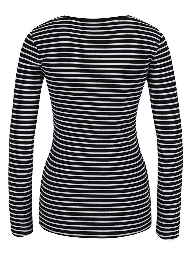 Bílo-černé pruhované tričko s dlouhým rukávem a kulatým výstřihem TALLY WEiJL
