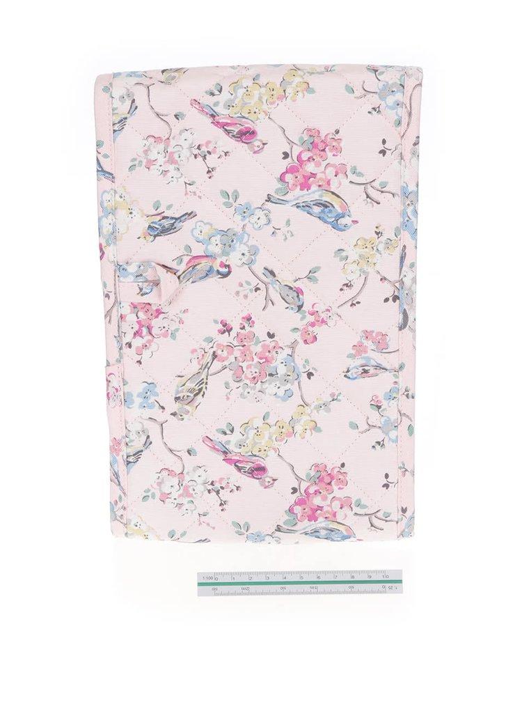 Růžová dvojitá prošívaná chňapka s motivem květin a ptáčků Cath Kidston