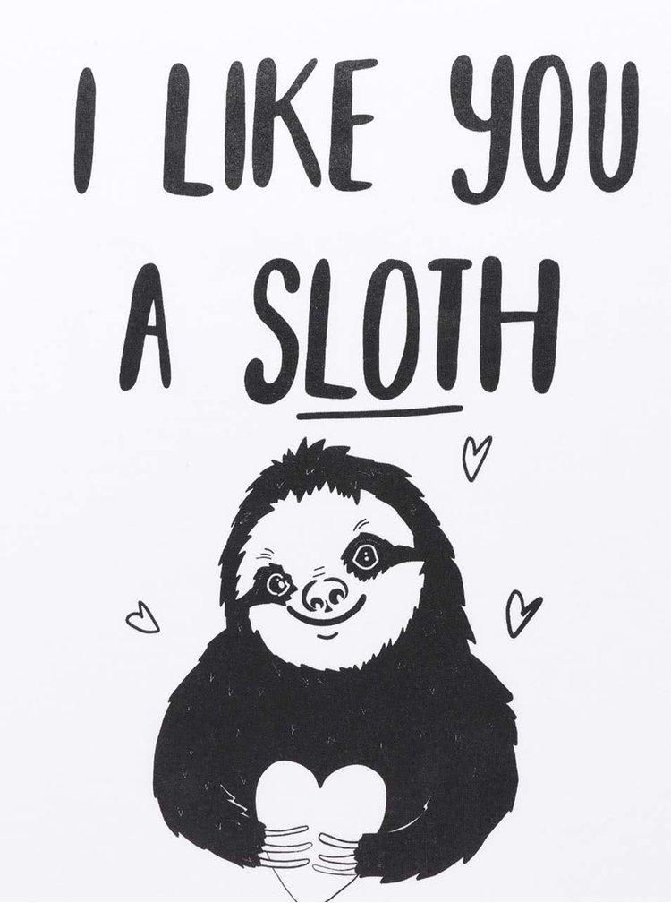 Bílé dámské tričko ZOOT Originál I like you a sloth