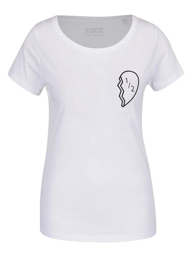 Bílé dámské tričko ZOOT Originál Půlka srdce
