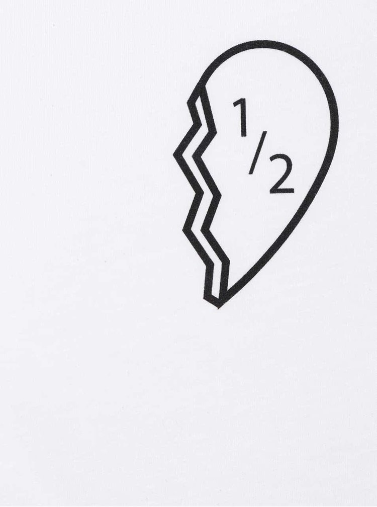 Tricou alb cu print ZOOT Original Half a Heart