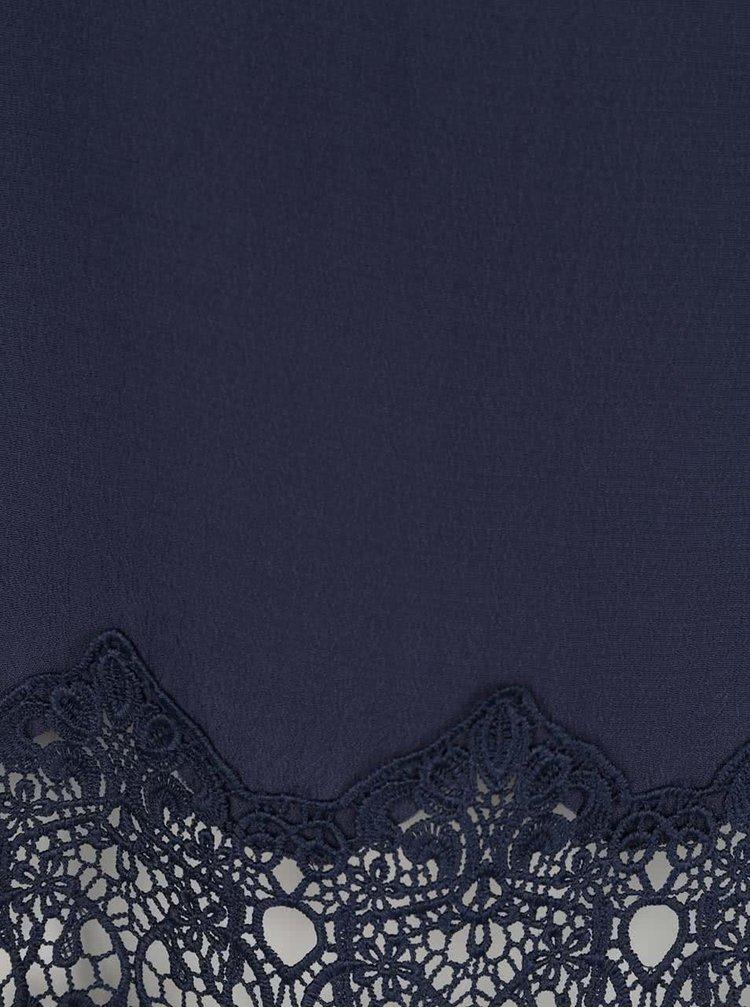 Tmavě modrá halenka s krajkovými lemy VILA Beana