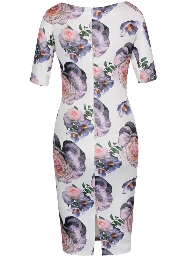 Krémové květované šaty AX Paris