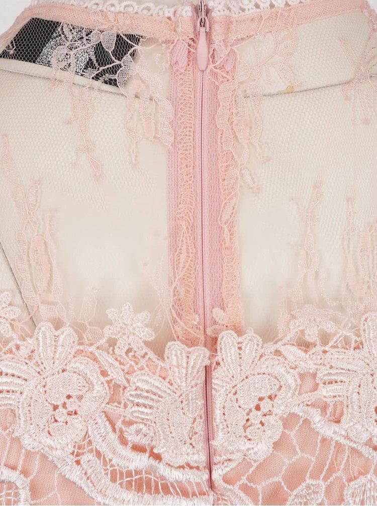 Růžové krajkové šaty s průsvitnými detaily AX Paris