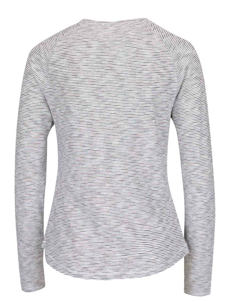 Černo-krémové dámské pruhované tričko s potiskem s.Oliver