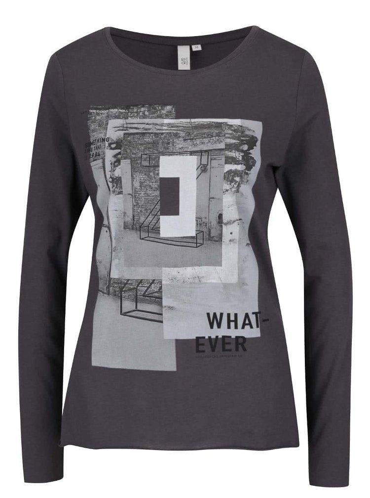 Tmavě šedé dámské tričko s potiskem a dlouhým rukávem s.Oliver