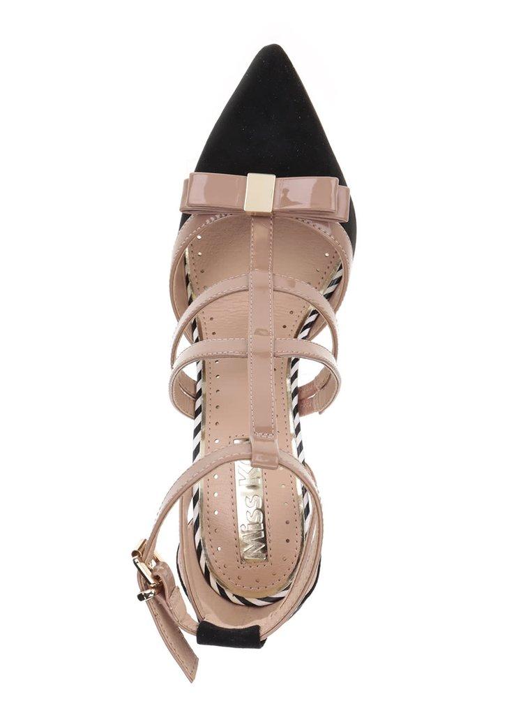 Hnědo-černé lodičky s pásky na podpatku Miss KG