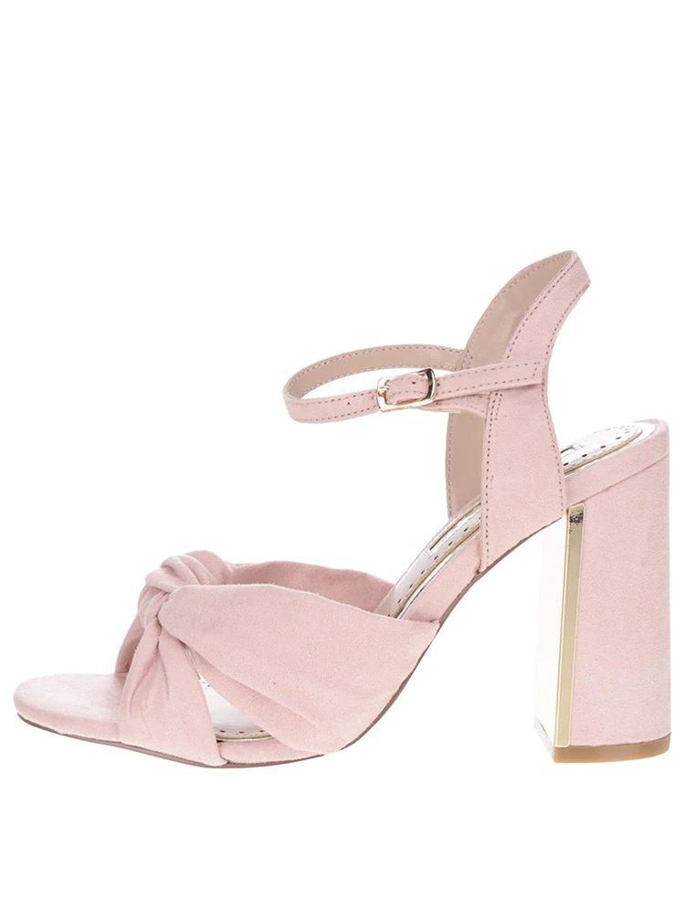 Růžové sandálky v semišové úpravě na podpatku Miss KG