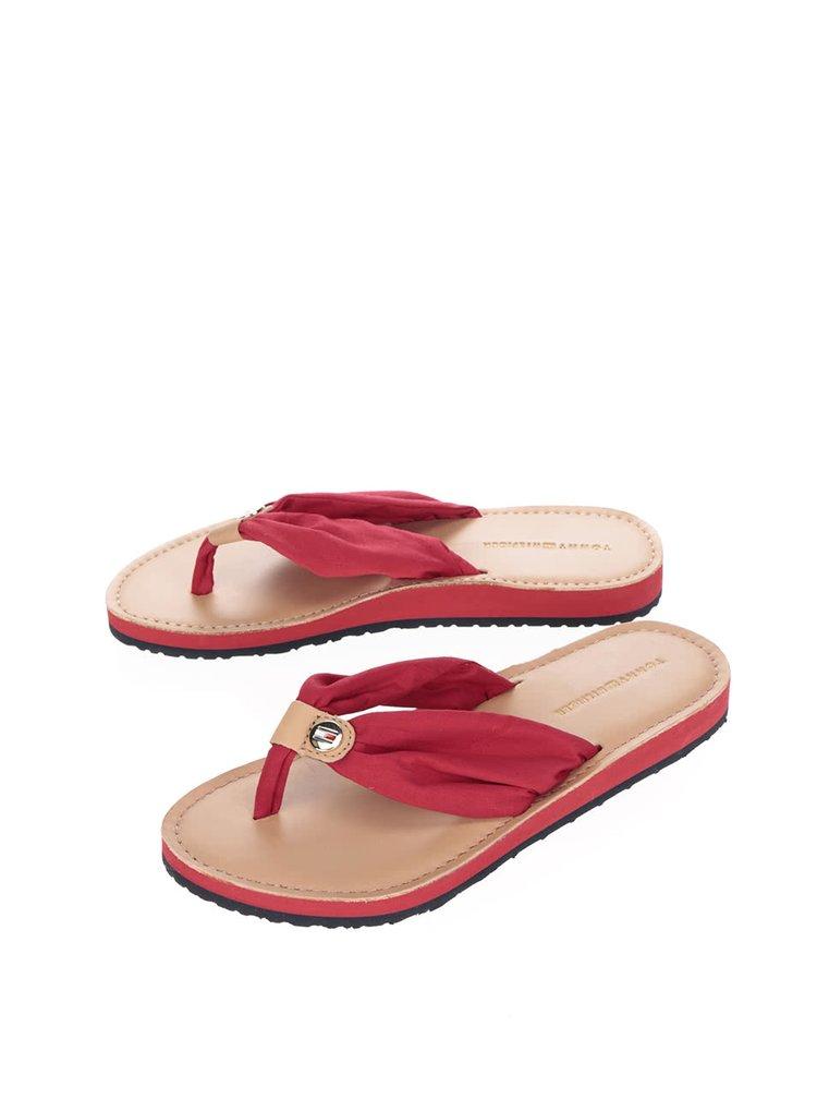Hnedo-červené dámske žabky Tommy Hilfiger