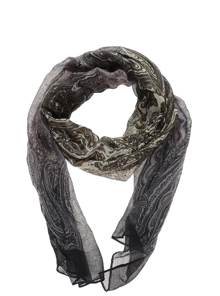 Zeleno-hnědo-černý vzorovaný šátek Haily´s Mia