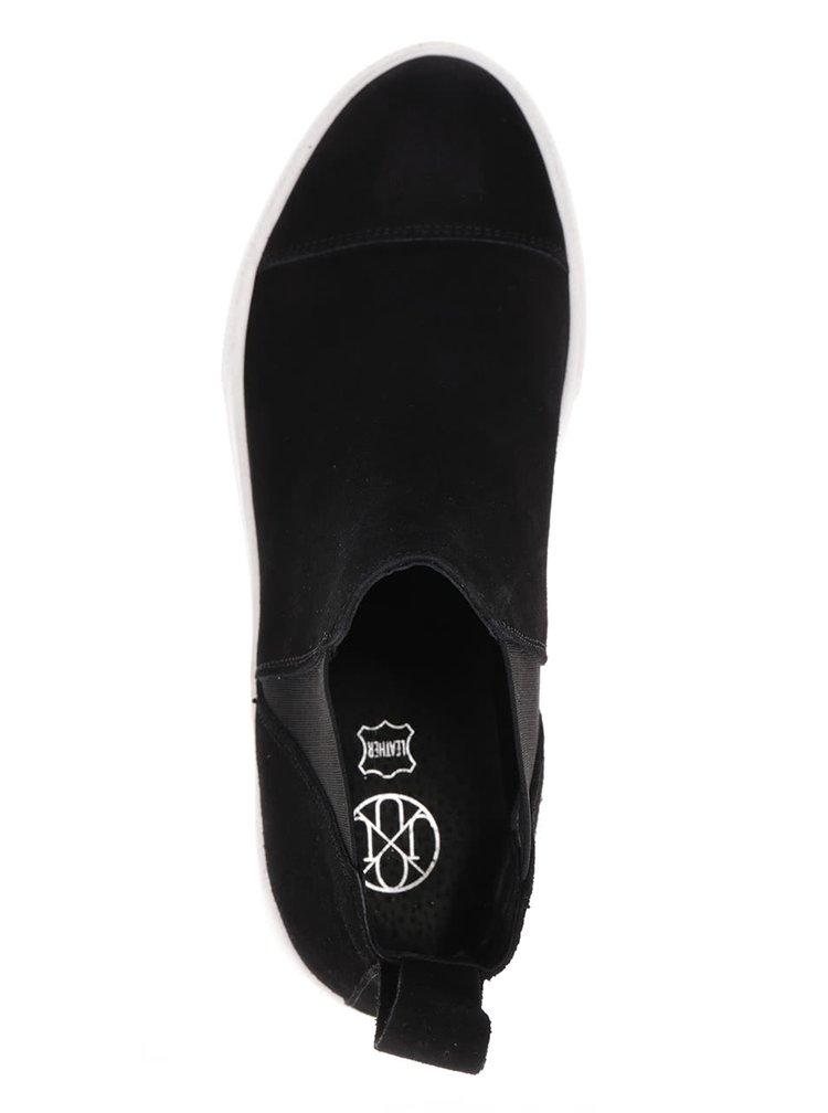 Černé semišové chelsea boty OJJU Serraje