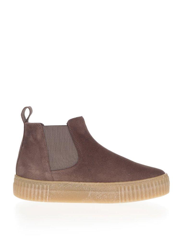 Hnědé semišové chelsea boty na platformě OJJU Serraje