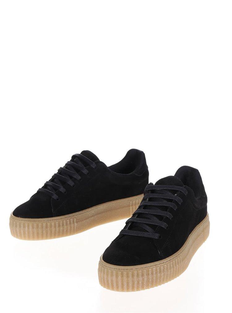 Pantofi sport negri cu platformă OJJU Serraje din piele întoarsă