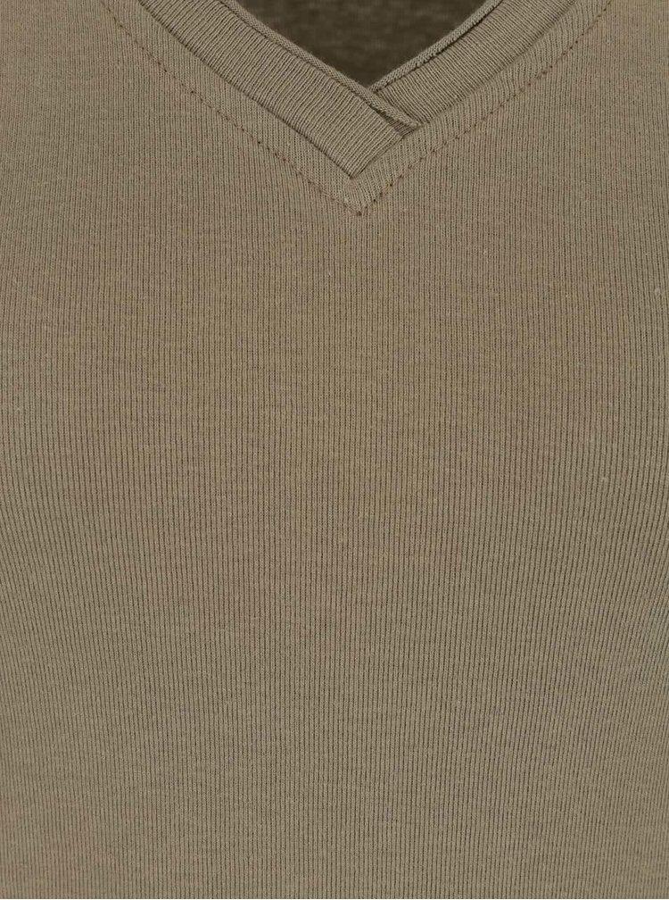 Khaki tričko s véčkovým výstřihem Madonna Basic