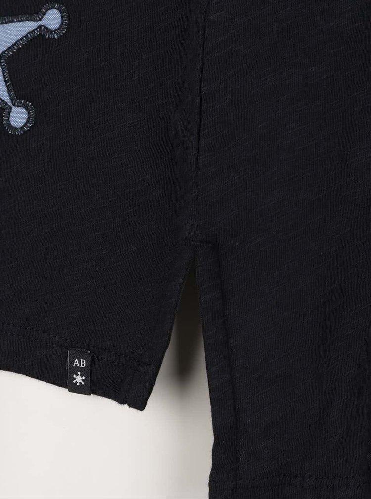Tricou negru Maison Scotch cu aplicatii