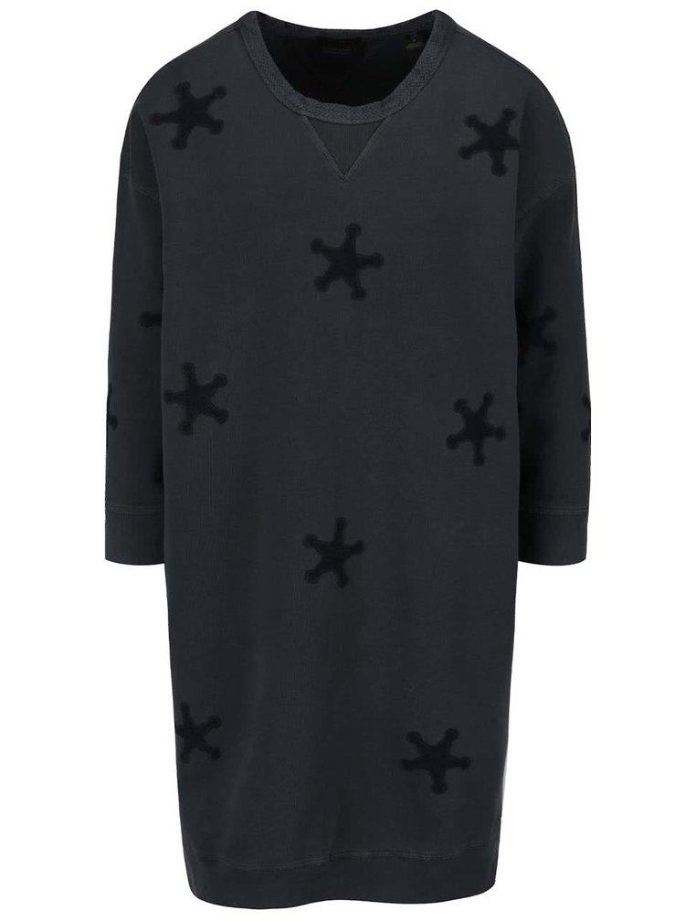 Tmavě šedé volné mikinové šaty s nášivkami ve tvaru hvězd Maison Scotch