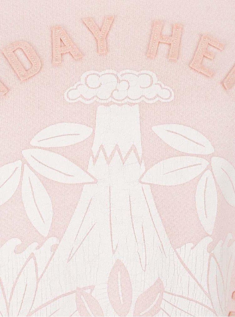Bluză roz pal Scotch & Soda cu imprimeu și aplicații