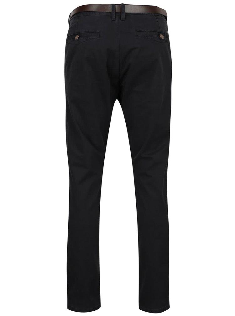 Tmavě šedé pánské chino kalhoty s páskem s.Oliver