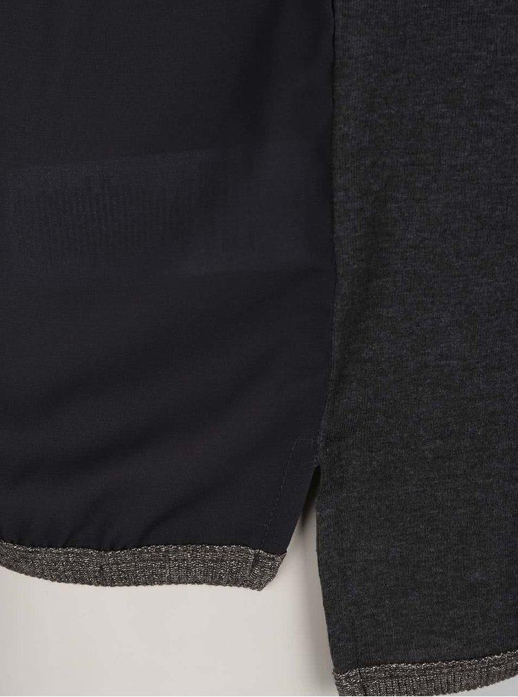 Tmavě šedé tričko s lemováním ve zlaté barvě ONLY Cholo