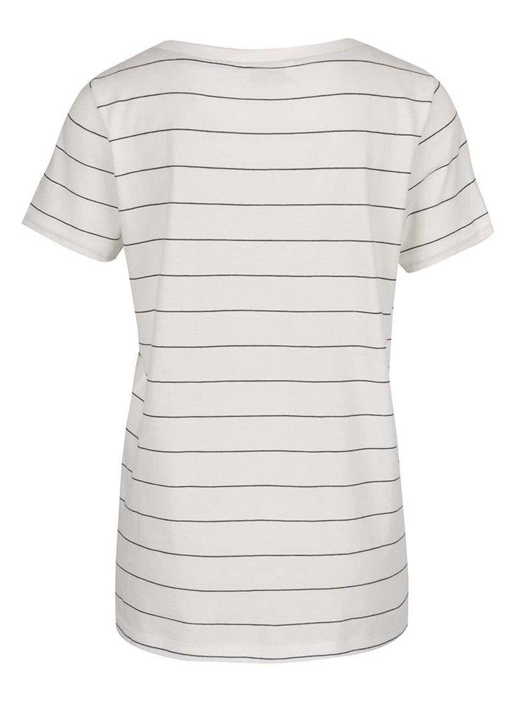 Krémové tričko s černými pruhy ONLY New Kita