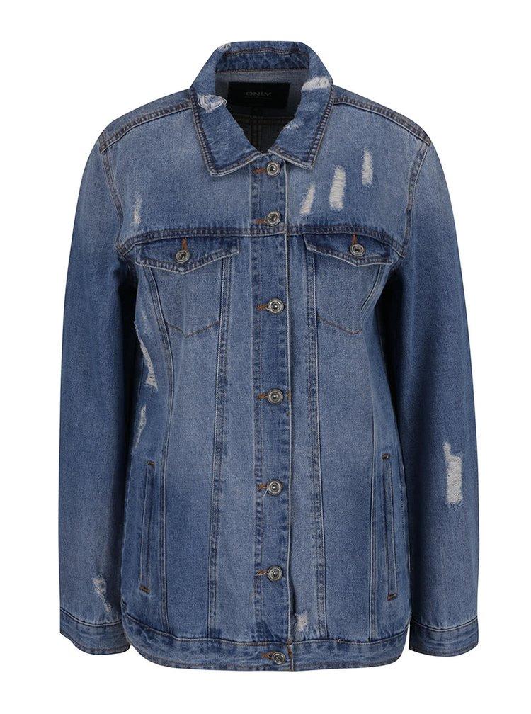 Jachetă albastră denim ONLY Eva cu imprimeu