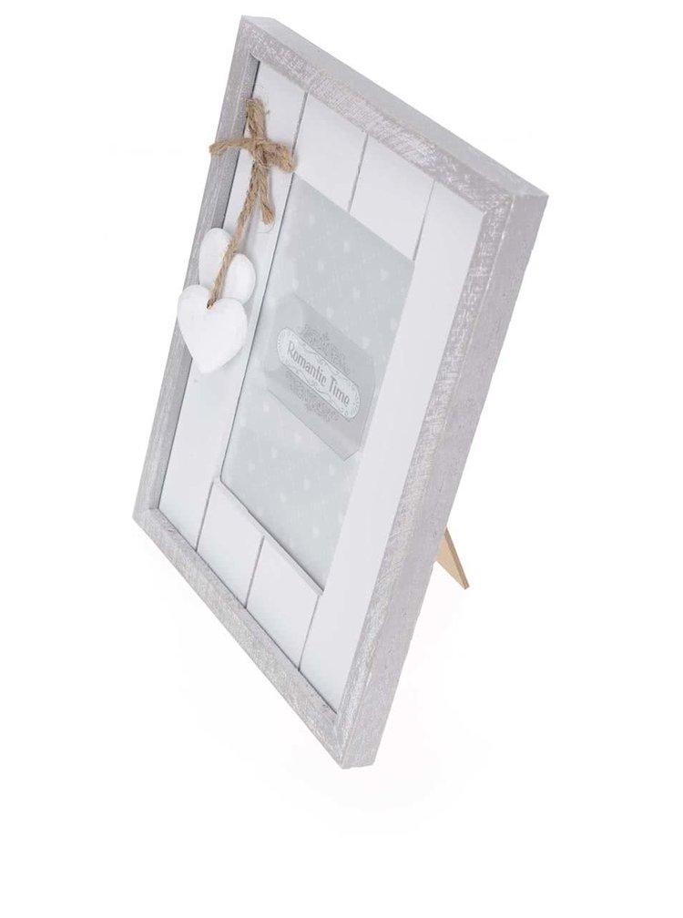 Sivo-biely drevený fotorámček so srdiečkami Dakls