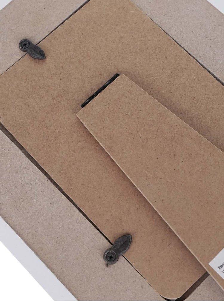 Bílo-šedý dřevěný fotorámeček se srdíčky Dakls