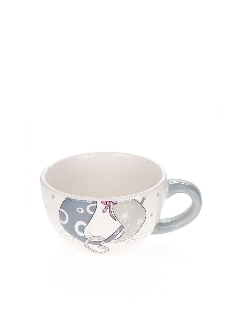 Krémový čajový set s motivem koček 2v1 Dakls