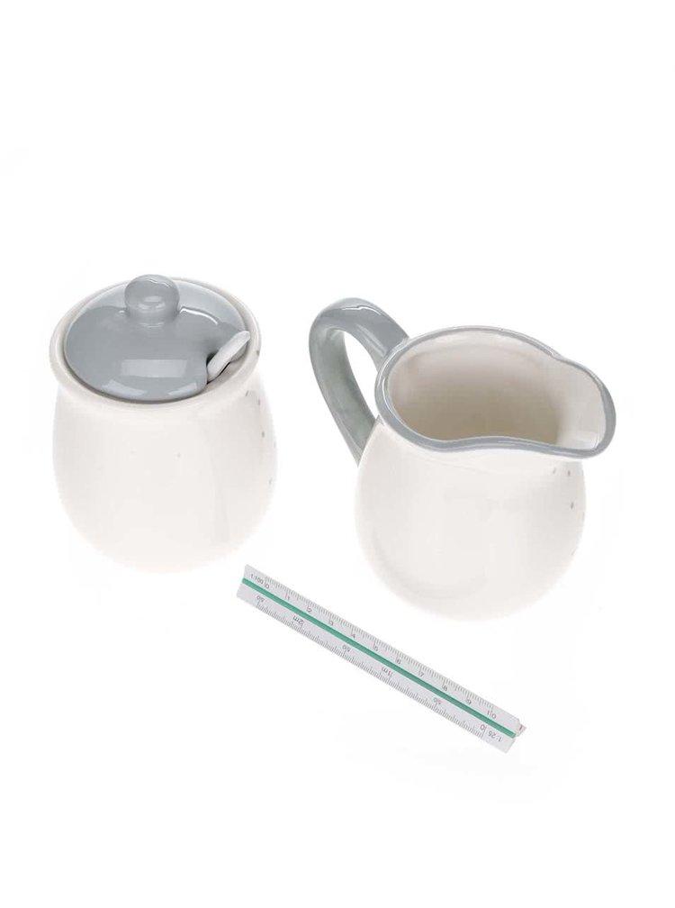 Krémová súprava dózy na cukor a konvičky na mlieko v krémovej farbe Dakls