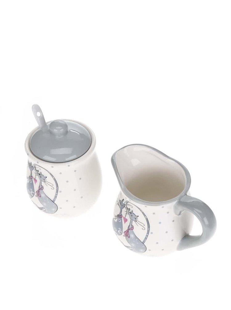 Set pentru ceai crem Dakls cu print