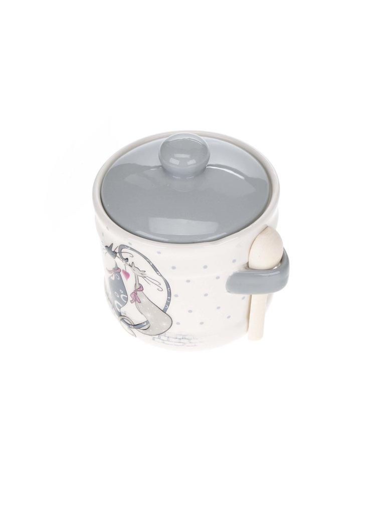 Recipient pentru zahar crem cu imprimeu Dakls din ceramica