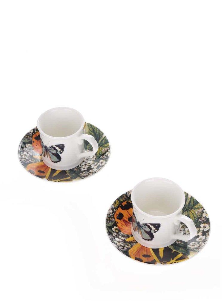 Set 2 cani espresso cu farfurie Magpie cu imprimeu fluturi