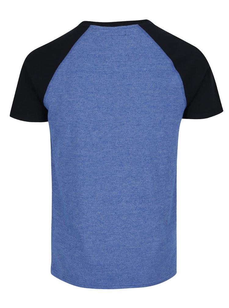 Černo-modré pánské triko s potiskem Superdry