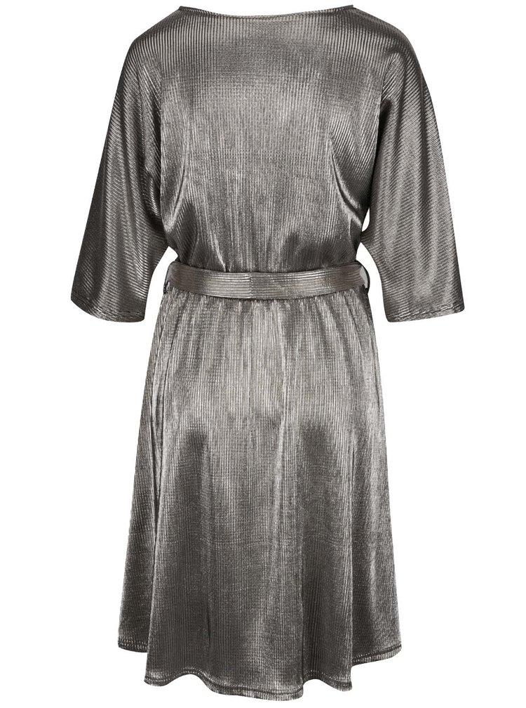 Žebrované šaty ve zlatostříbrné barvě VERO MODA Cassie