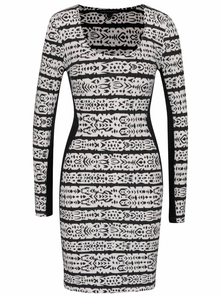 Černo-krémové vzorované šaty French Connection Mayan