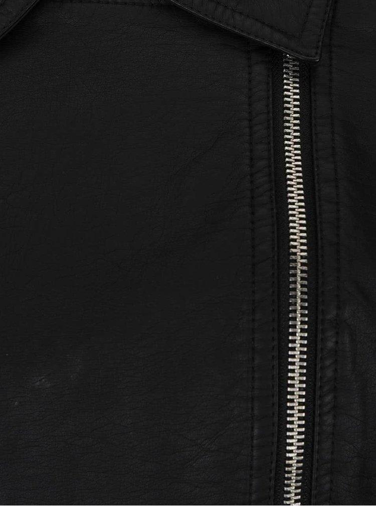 Černý koženkový křivák s mikinovými rukávy a kapucí TALLY WEiJL