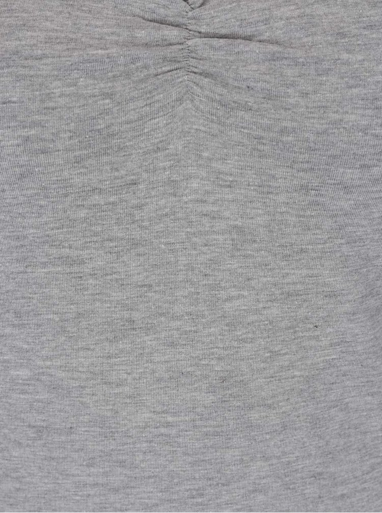 Šedé  tričko s řasením v dekoltu TALLY WEiJL