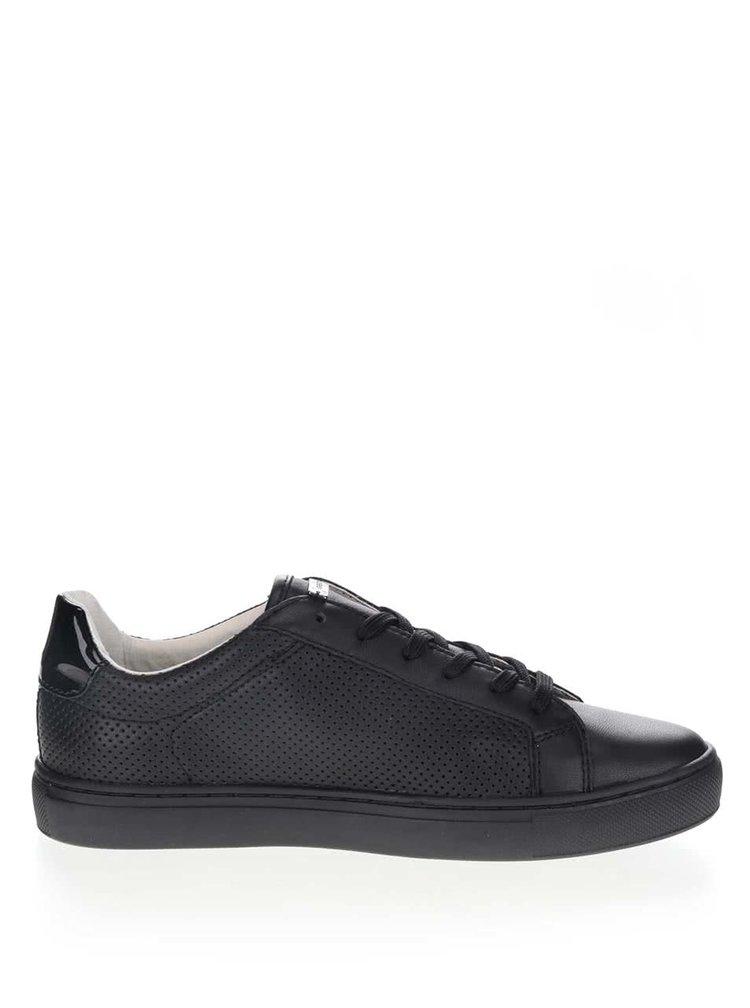 Pantofi sport negri Geox Trysure din piele cu model cu perforatii